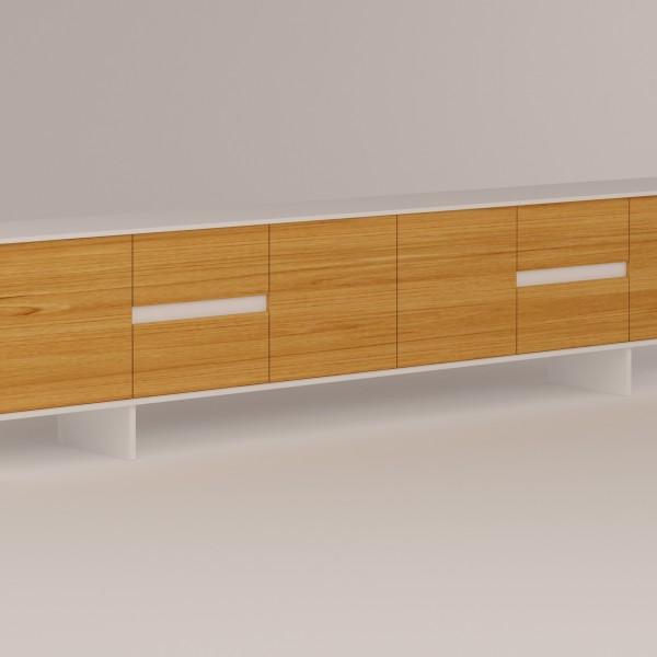 Rendering di un mobile soggiorno. Progettazione su misura dell'arredamento di un appartamento.