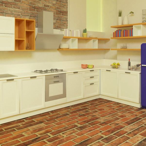 Rendering cucina. Progettazione su misura dell'arredamento di un appartamento.